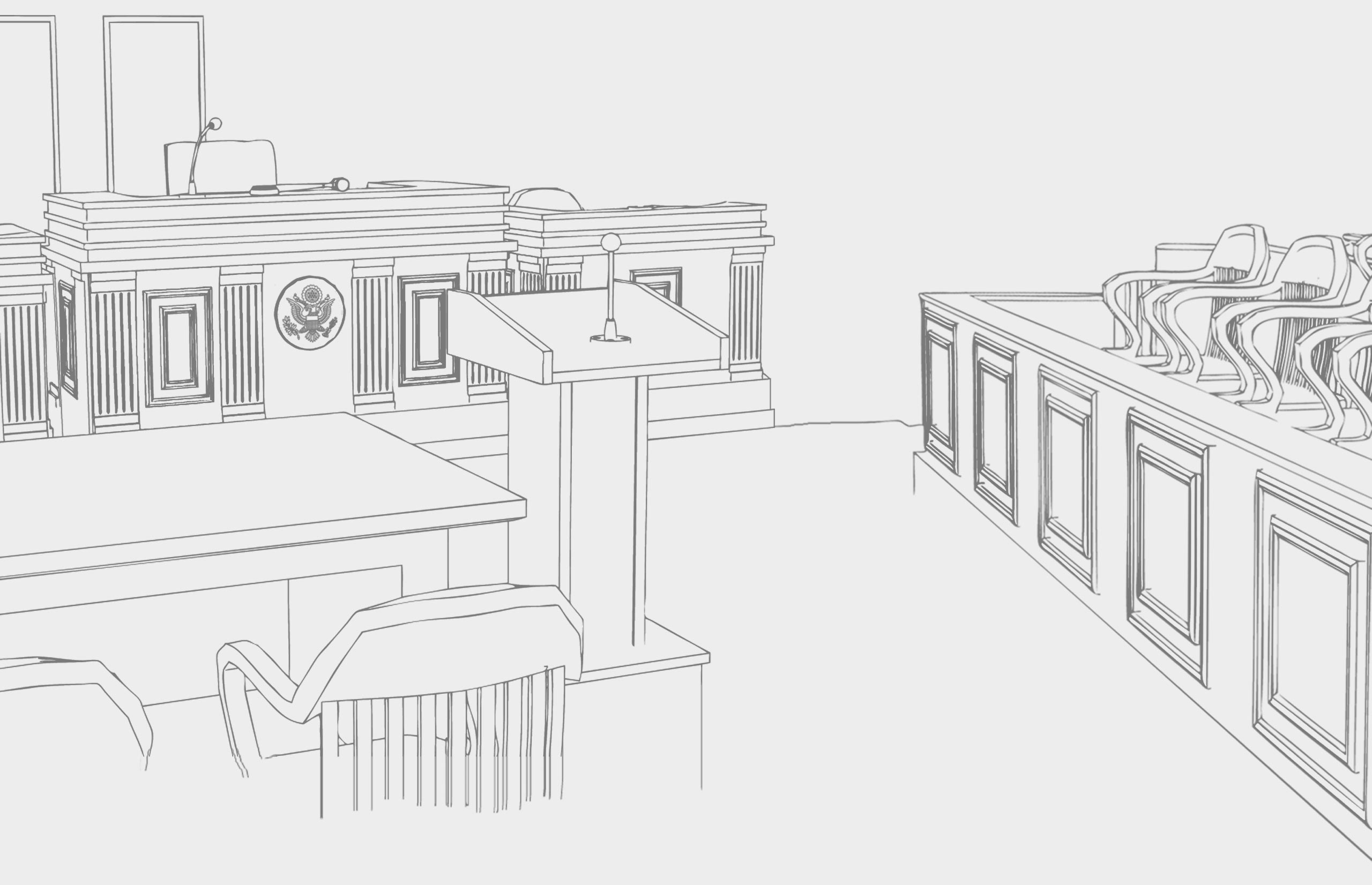 line drawing of courtroom